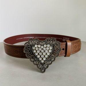LEVI'S SIGNATURE Genuine Leather Brown Heart Belt